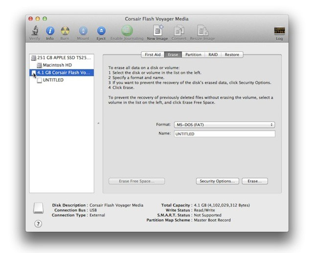 Diskutility in mac for formatting sd cards