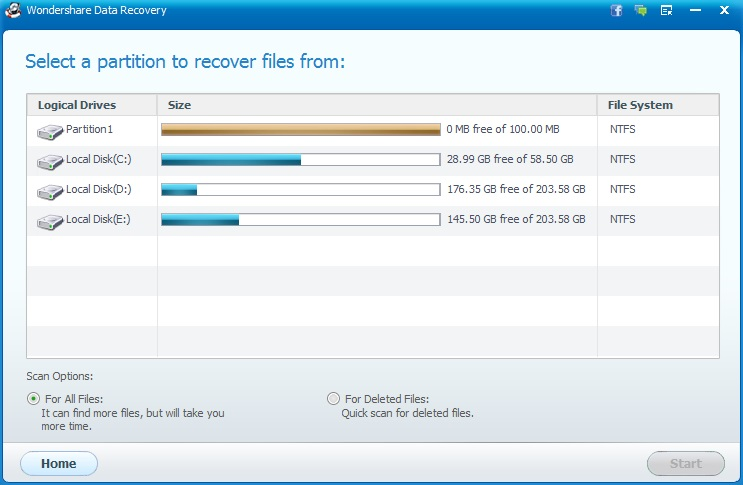 Wondershare Data Recovery Raw Recovery