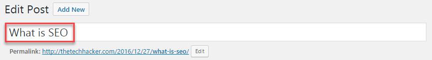 Title in WordPress