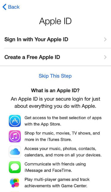 Create or Enter Your Apple ID
