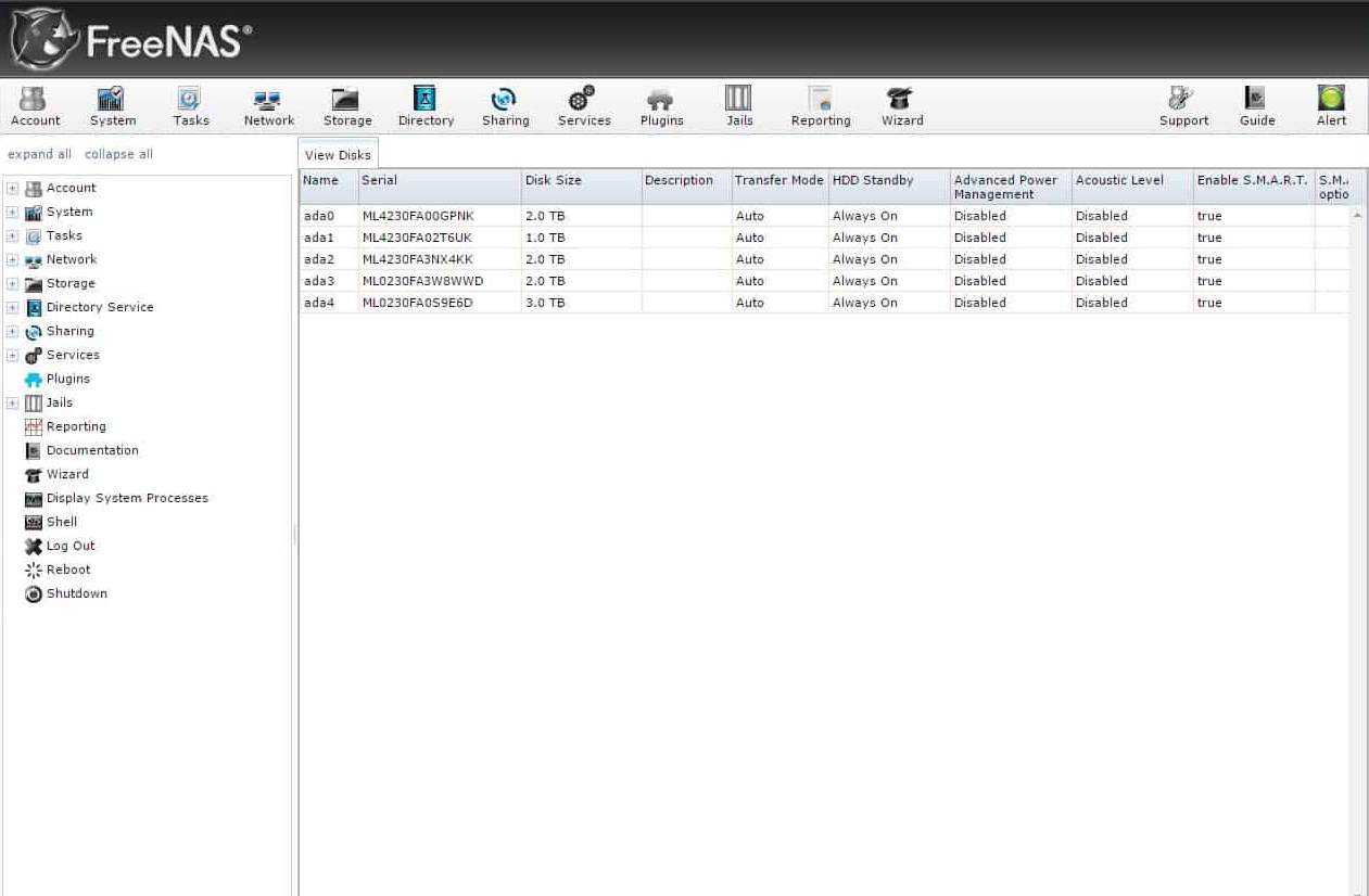 FreeNAS Interface