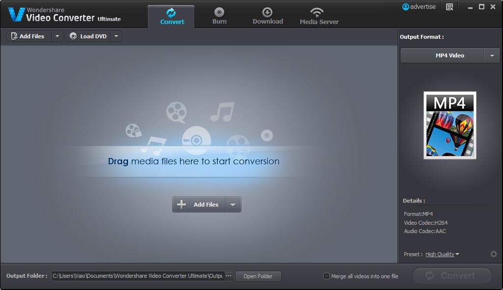Wondershare Video Converter Ultimate Interface