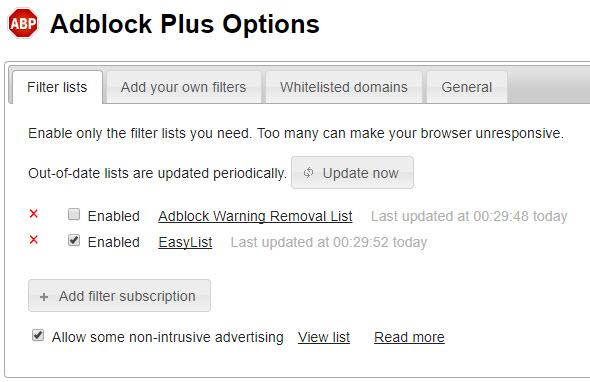 Adblock Plus Options