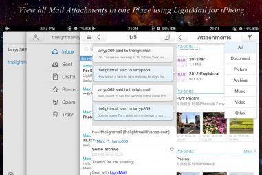 View all Mail Attachments in one Place using LightMail for iPhone